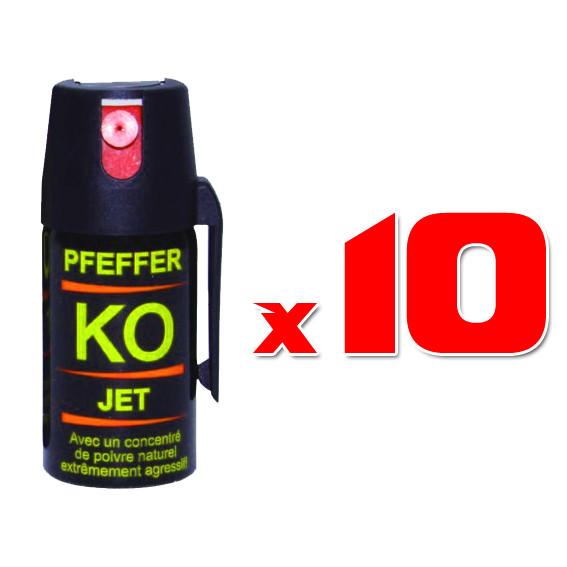 Lot de 10 x Minis Aérosols Lacrymogènes 40 ml GEL POIVRE