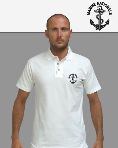 Polo Blanc sérigraphié Marine Nationale