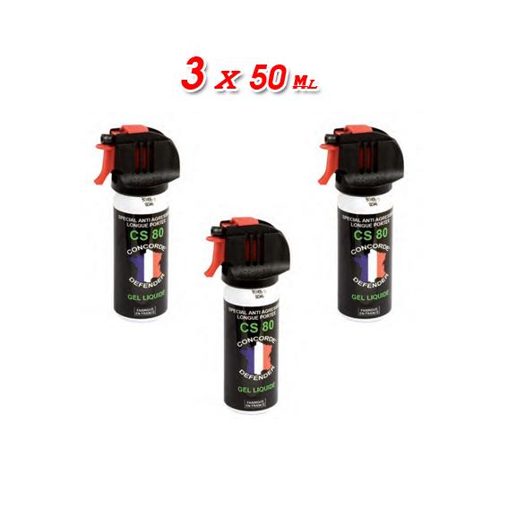 Lot de 3 x Bombes lacrymogènes 50ml Gaz, Gel ou Gel poivre