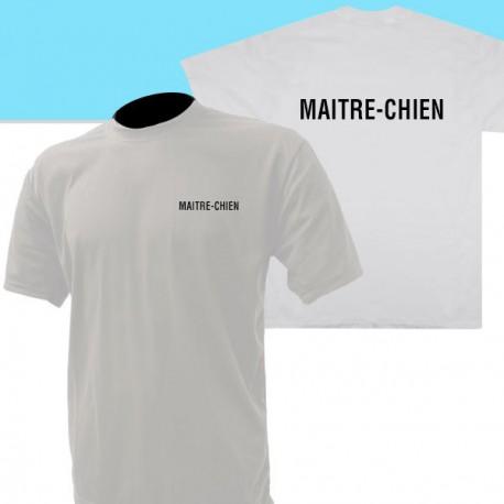 Tee-Shirt blanc imprimé maitre-chien