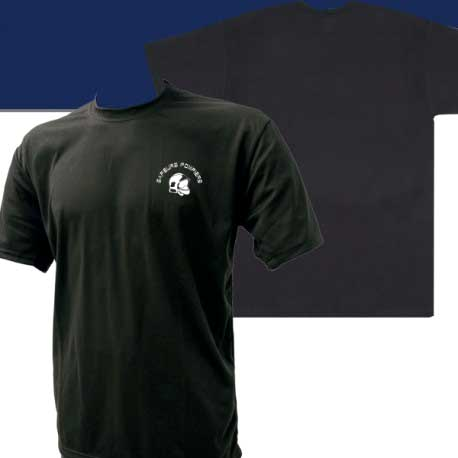 Tee-shirt pompier noir avec logo casque F1