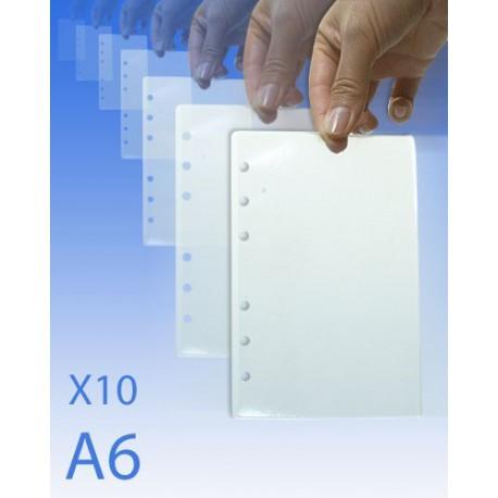 Feuilles plastifiées format A6 pour classeur