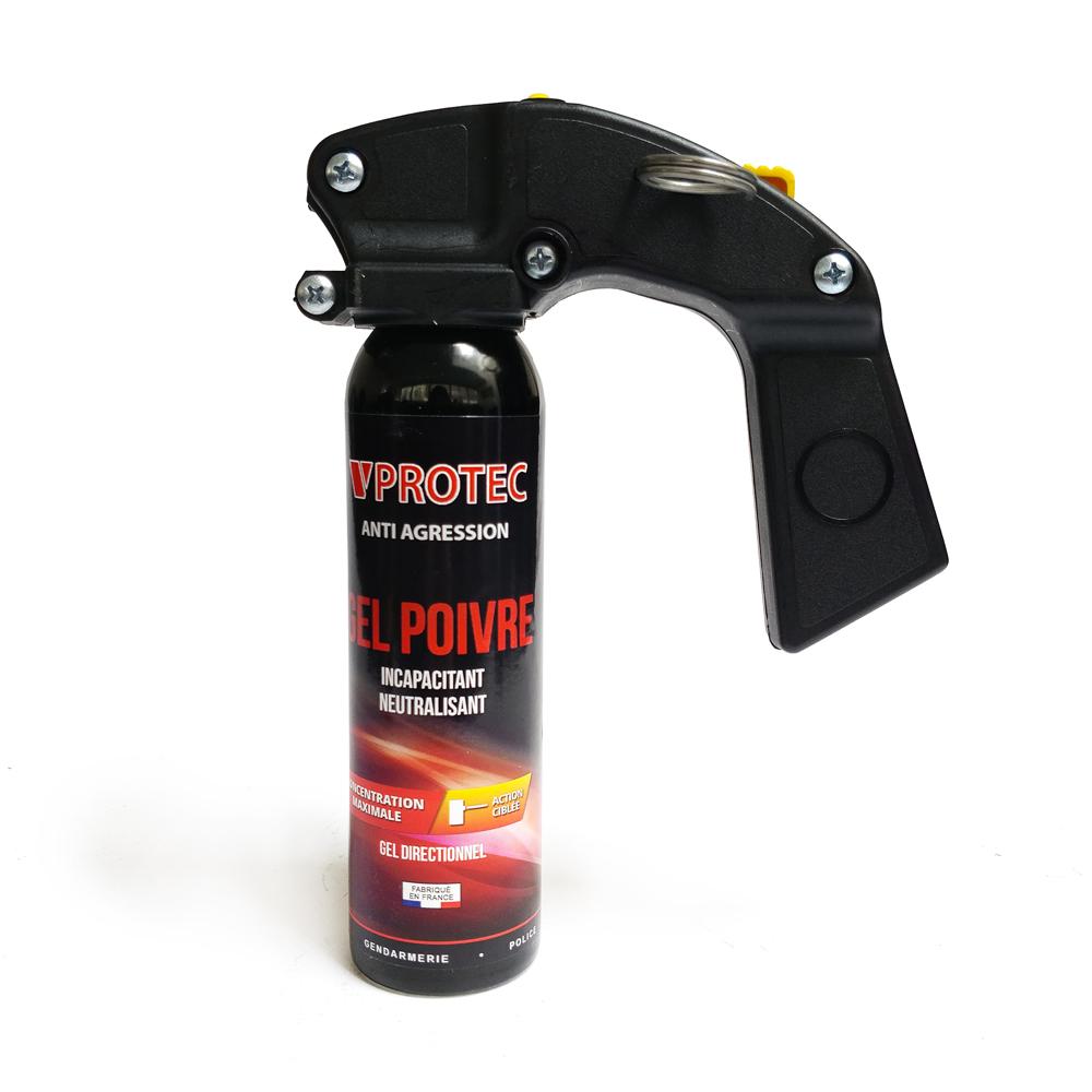 Mini extincteur lacrymogène avec poignée gel poivre 100 ml VPROTEC