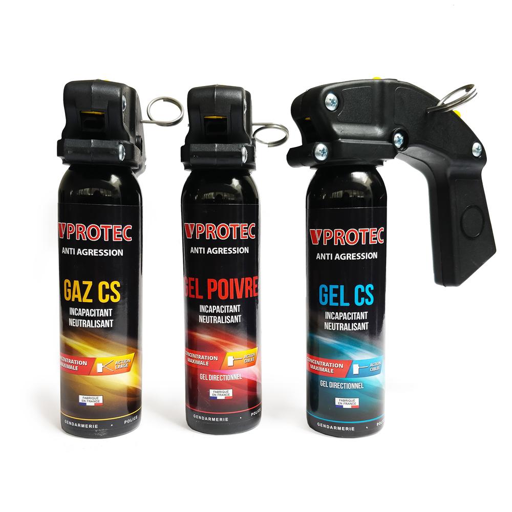 Lot de 3 extincteurs lacrymogènes gaz, gel et gel poivre 100ml