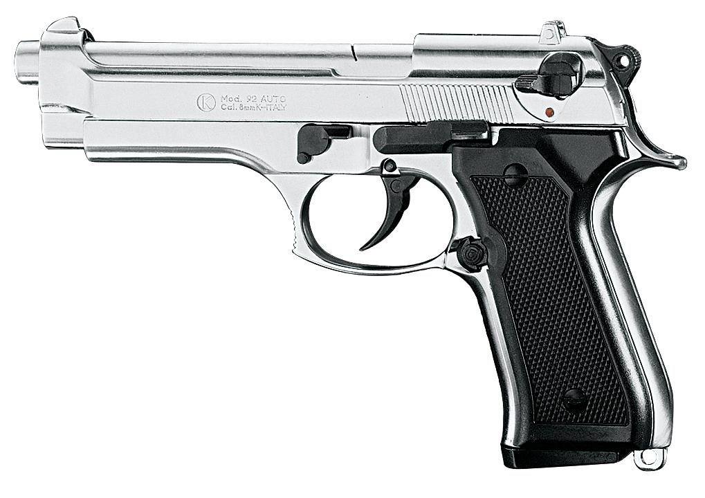 Pistolet de défense Beretta 92 F calibre 9mm chrome
