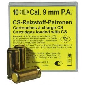 Boîte de 10 cartouches 9 mm gaz lacrymogène cs