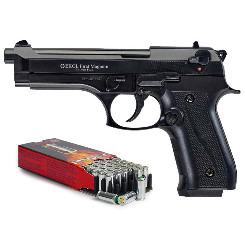 Pack Pistolet de défense EKOL modèle Beretta 92 F noir calibre 9mm