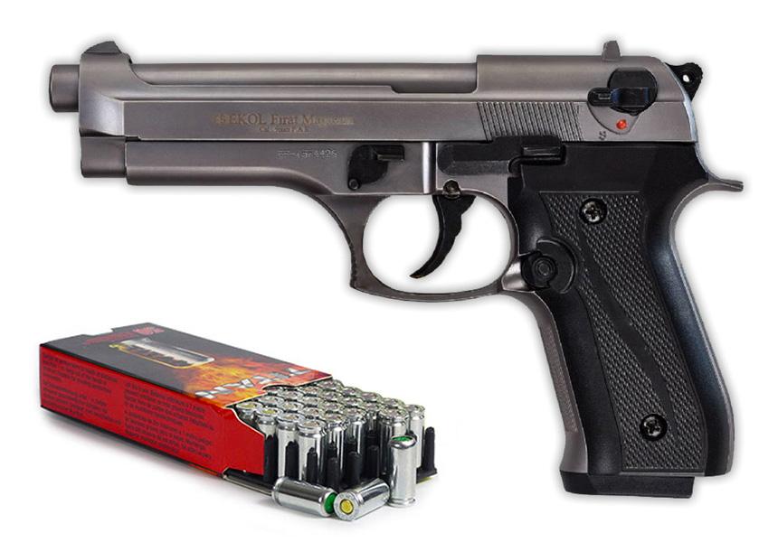 Pack Pistolet de défense EKOL modèle Beretta 92 F fumé calibre 9mm
