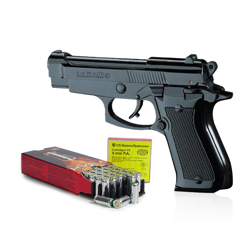 Pack Pistolet à blanc type Beretta 85 noir calibre 9 mm