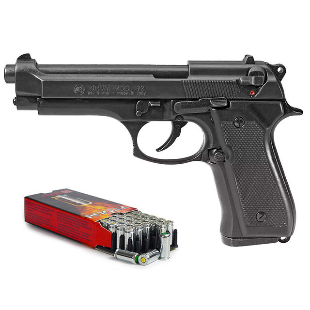 Pistolet à blanc Beretta 92 F noir 9mm + 50 cartouches à blanc