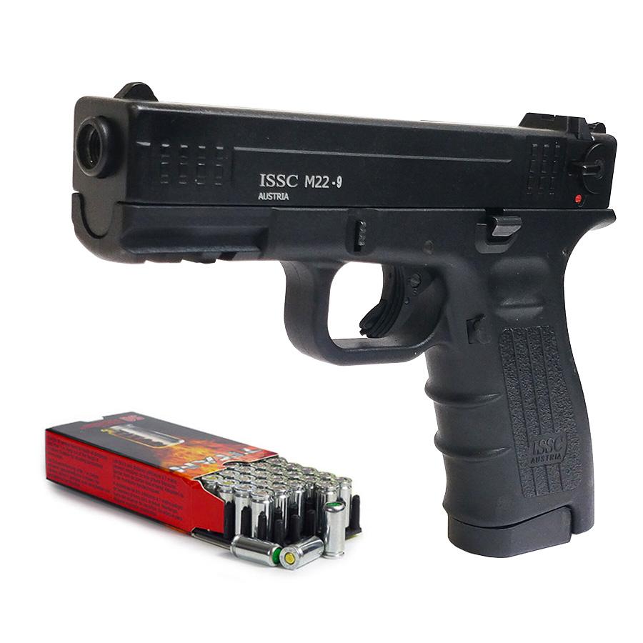 Pack Pistolet de défense ISSC M22 noir calibre 9 mm + 50 cartouches