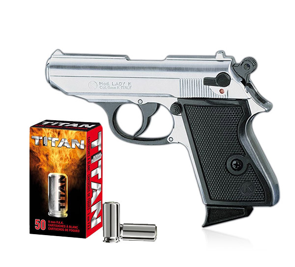 Pack Pistolet de défense discret LADY k calibre 9 mm chrome