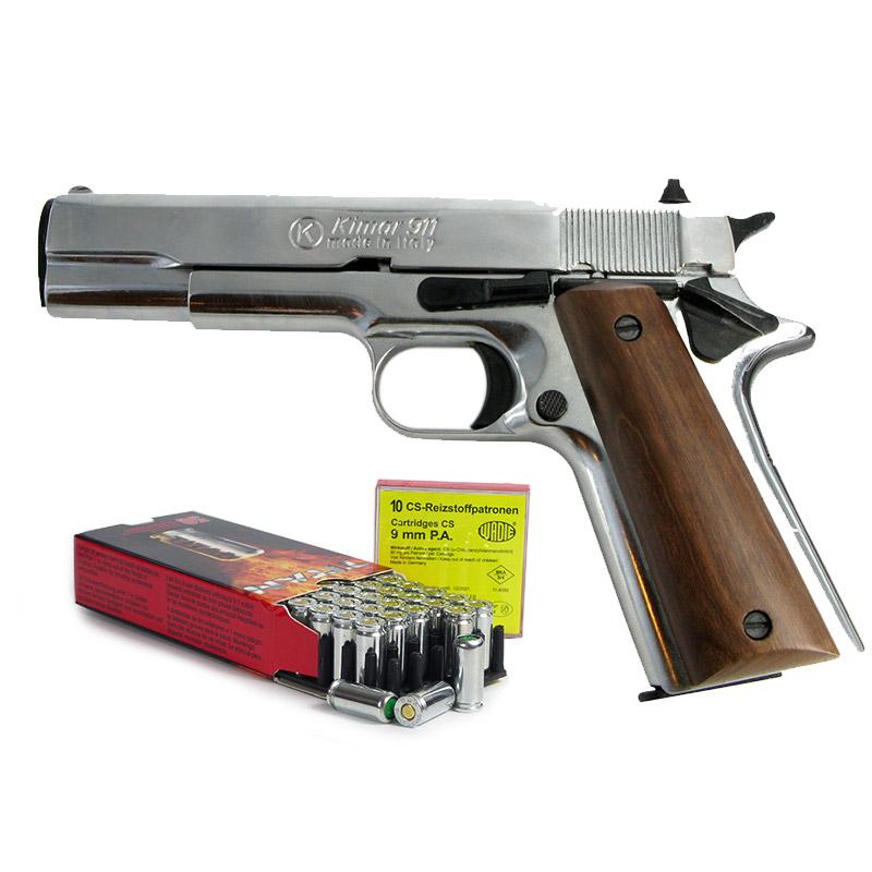Pack Pistolet à blanc type Colt 1911 chrome calibre 9mm