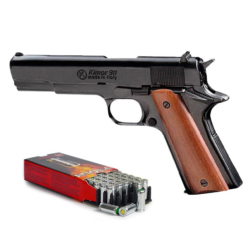 Pistolet à blanc type Colt 1911 noir calibre 9mm + 50 cartouches à blanc
