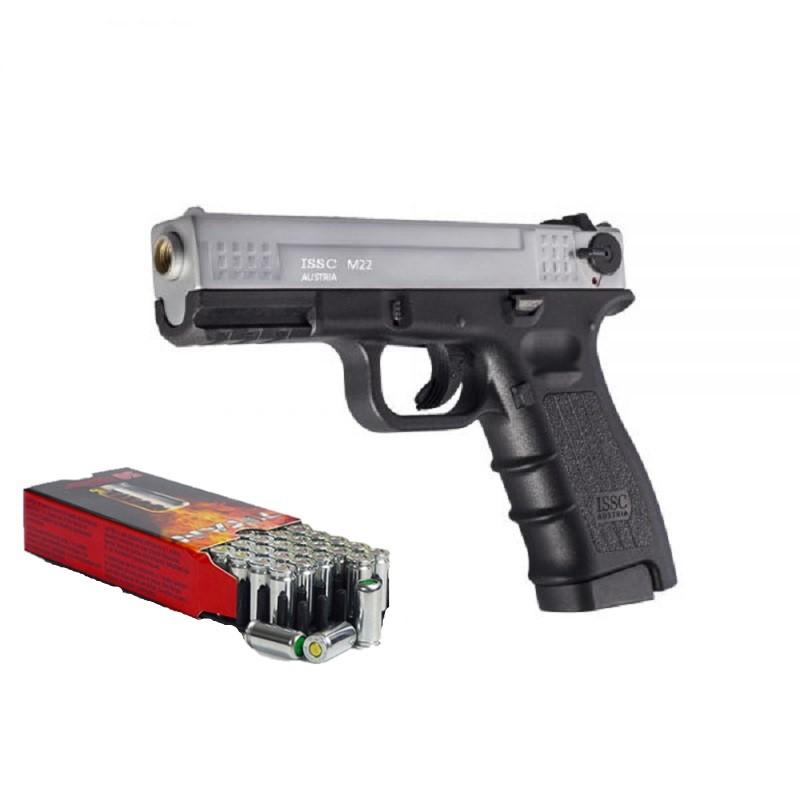 Pack Pistolet de défense ISSC M22 bicolore calibre 9 mm + 50 cartouches
