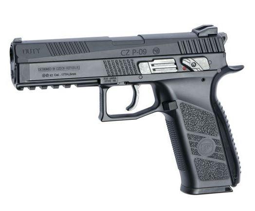 Réplique à gaz CO2 CZ P09 Duty noir calibre 4.5 mm plomb ou bille acier