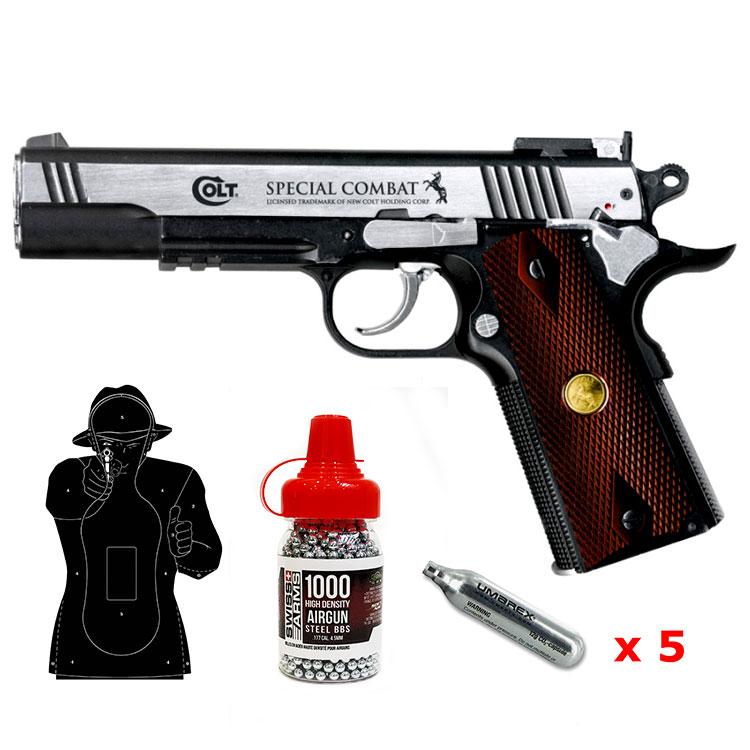 Pack pistolet Colt Special Combat bille acier calibre 4,5 mm