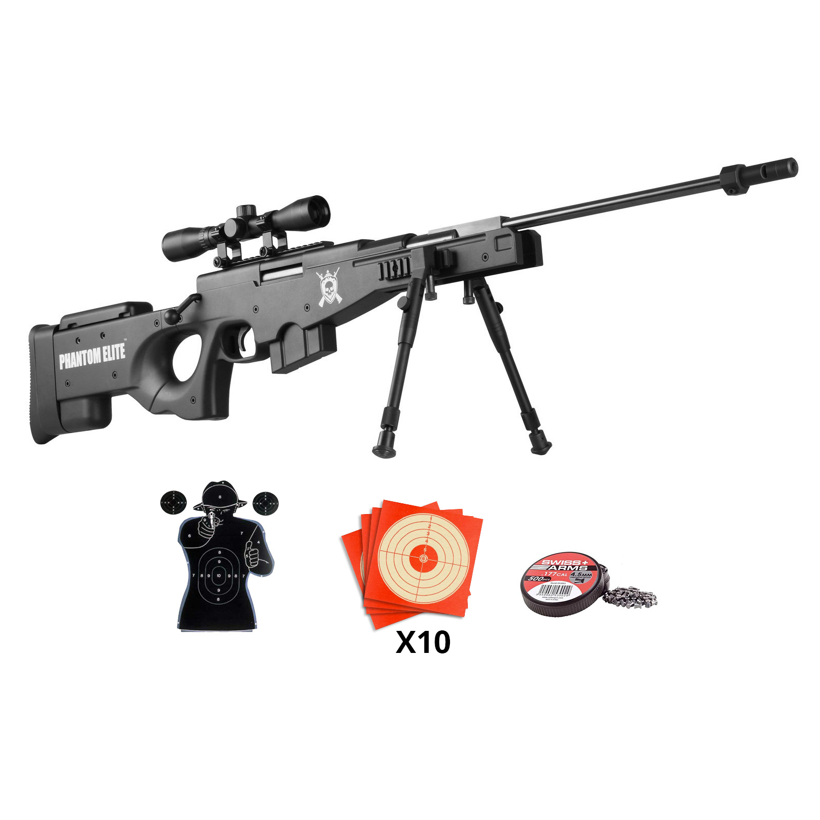 Pack carabine à plomb Sniper PHANTOM ELITE calibre 4,5 mm