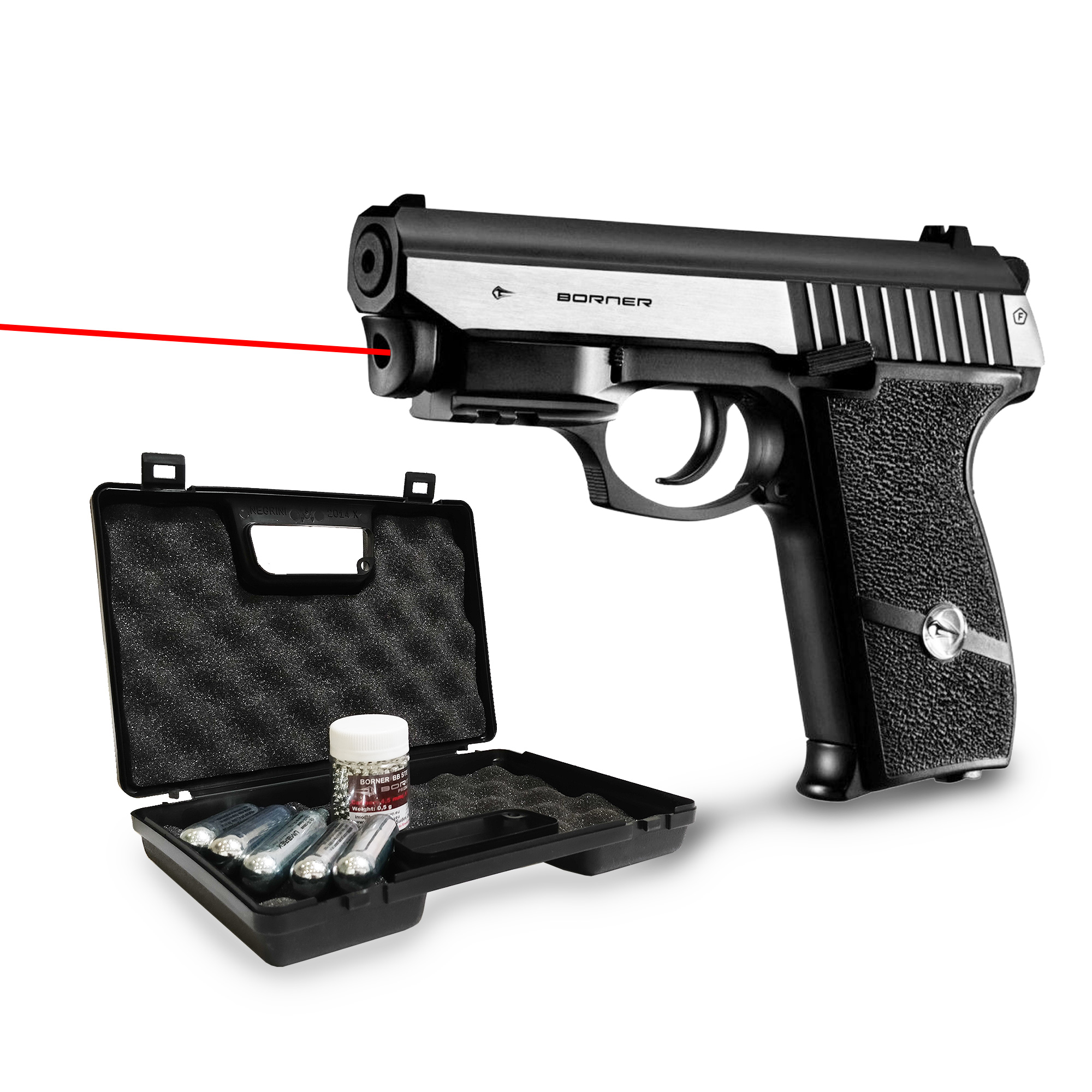Kit Pistolet à billes acier 4,5mm Panther 801 Borner co2 avec laser intégré