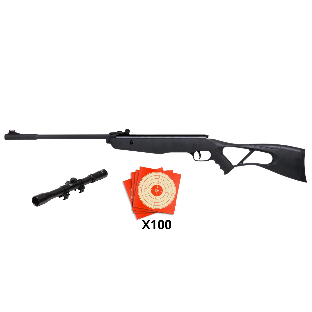 Carabine à plomb 4,5 mm INFERNO avec lunette de tir + 100 Cibles