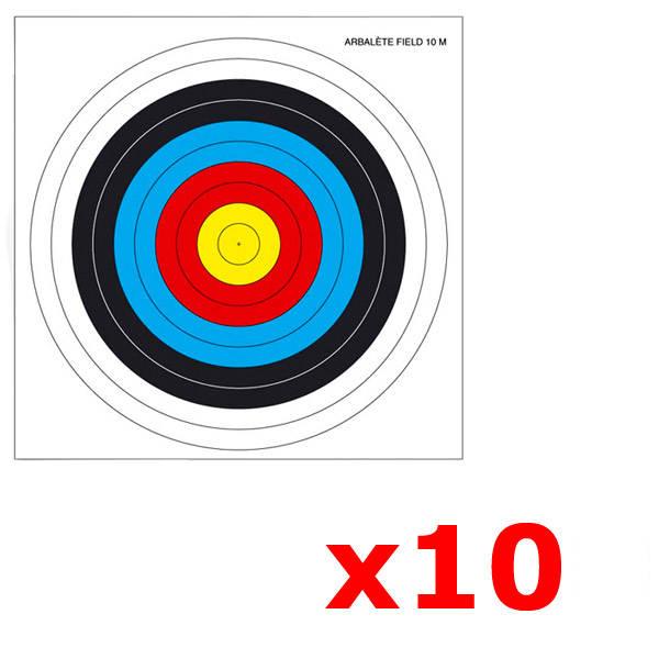 Lot de 10 cibles pour arbalète Field 25 X 25 cm