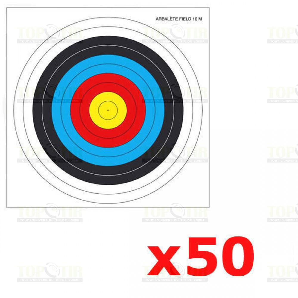 Lot de 50 cibles pour arbalète Field 25 X 25 cm