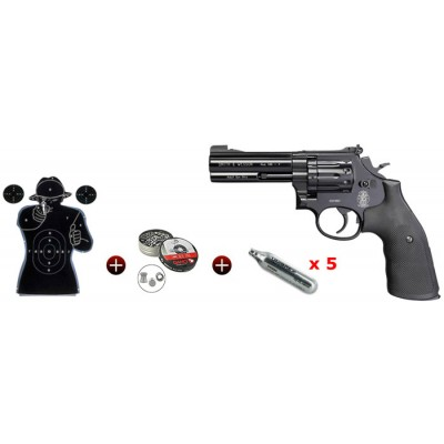 Kit revolver 4 Smith & Wesson 586 calibre 4,5 mm plombs ou billes acier BBS