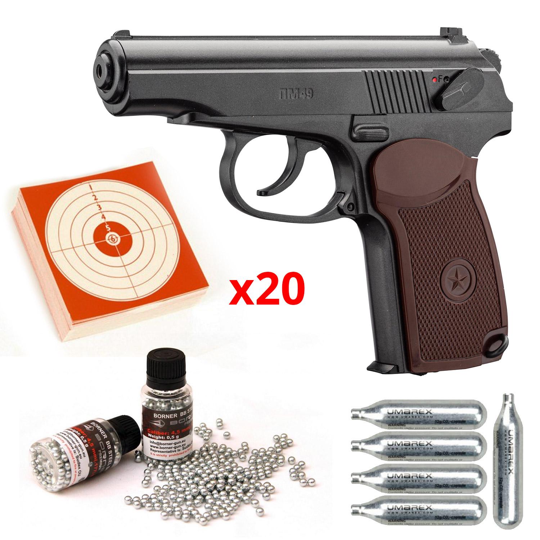 Pack Pistolet CO² culasse fixe PM49 Makarov 4.5 mm BBS - Borner