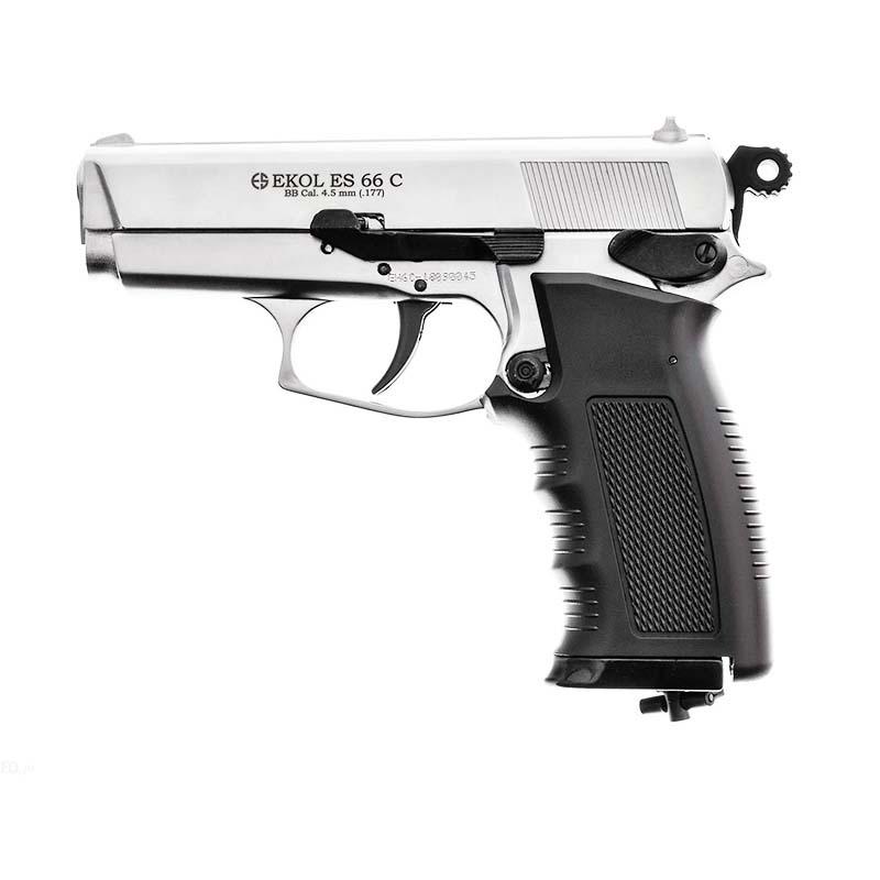 Pistolet Ekol ES66C BBs chromé cal 4,5 mm 2,4j - Ekol