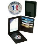 Porte carte cuir 3 volets + médaille PM