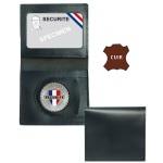 Porte carte cuir 2 volets avec médaille