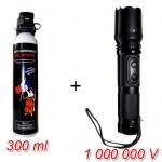 Pack Défense torche shocker électrique 1 000 000 V + Aérosol lacrymogène gel poivre 300 ml