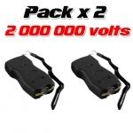 Pack de 2 x Paralyseurs Shockers électriques 2 000 000 Volts rechargeable + Led éblouissantes