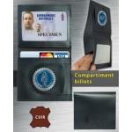 Porte carte Gendarmerie CUIR 2 volets + rangement billets