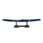 Katana Wakizashi bleu 46 cm avec support