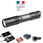 Pack lampe tactique rechargeable XT2C LED 1100 Lumens avec ses accessoires