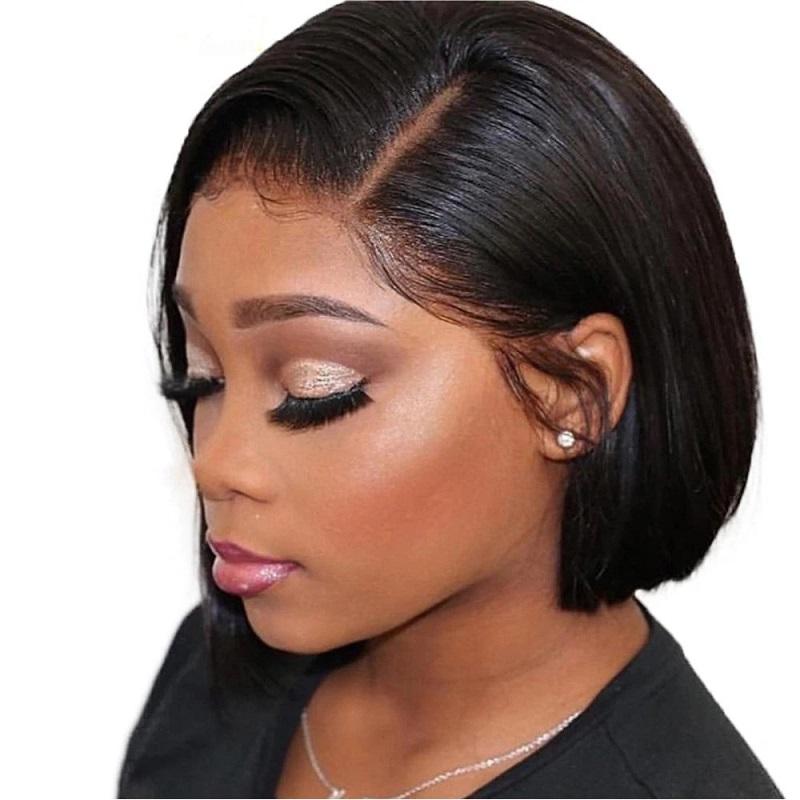 Perruque de cheveux humains avant de dentelle courte pour les femmes noires