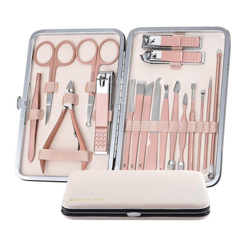 Kit de 18 pièces d\'outils de pédicule et de manucure