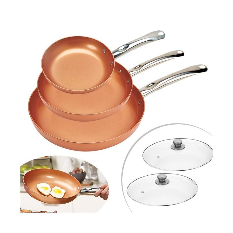 Set de 3 poêles en cuivre Copper Pan