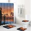 Style-africain-paysage-Polyester-rideau-de-douche-ensemble-tapis-antid-rapant-tapis-pour-salle-de-bain