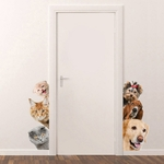 Chiens-chats-3D-autocollant-mural-dr-le-porte-fen-tre-armoire-r-frig-rateur-d-corations