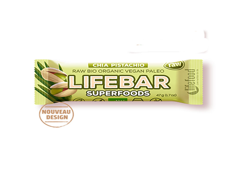 Barre Lifebar -Superfoods chia orge verte pistache bio & cru- 47g