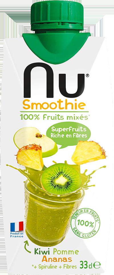 NU Smoothies - Green Detox - Kiwi Pomme Ananas - 33cl