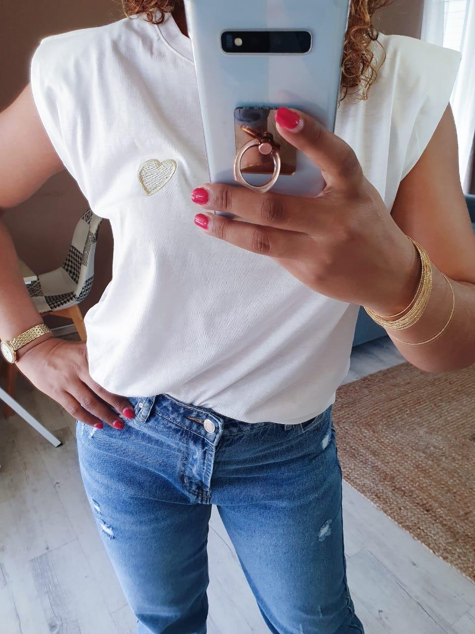 Tee shirt COEUR blanc/or