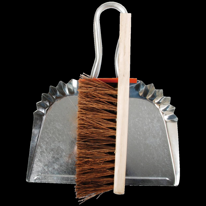 Pelle en zinc et brosse en bois