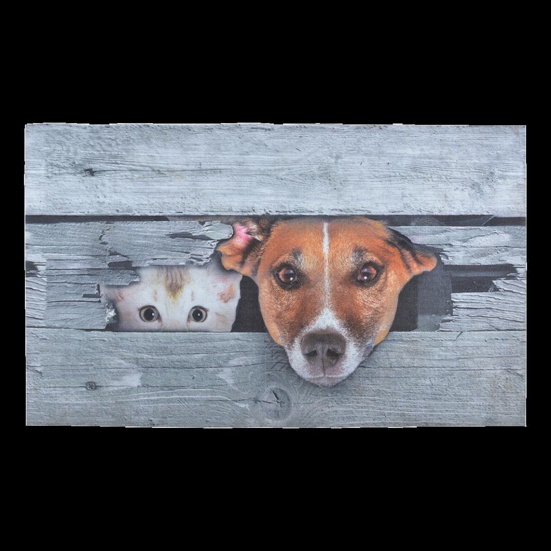 Paillasson tapis imprimé « Coucou ! Comme chien et chat ! »