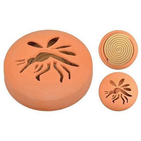 Spirale citronnelle anti-moustique dans diffuseur en terre cuite