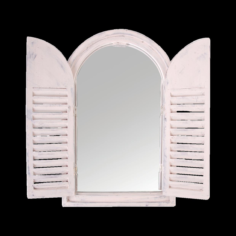 Miroir blanc en bois avec volets