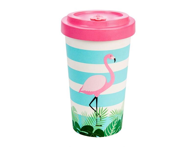 Bamboo cup / mug en bambou Flamant rose