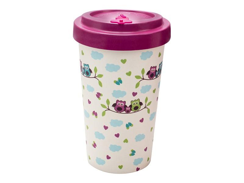 Bamboo cup / mug en bambou Chouettes purple
